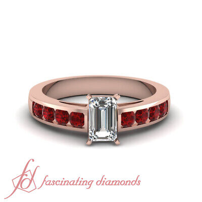 1.50 Carat Rose Gold Channel Set Emerald Cut Ruby Diamond Engagement Ring GIA