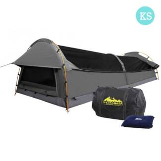 King Single Swag Camping Swags Canvas Tent Carry Bag Air Pillow