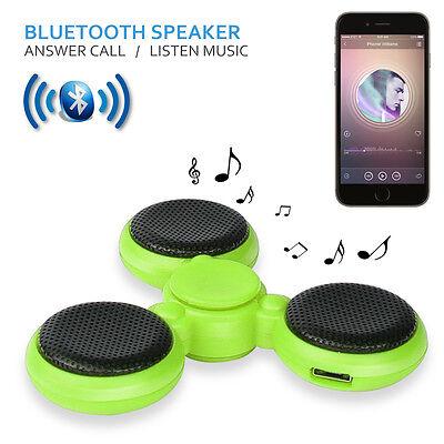 LED Bluetooth Tri Fidget Hand Spinner Music Speaker Desk Toy Gyro EDC-Green