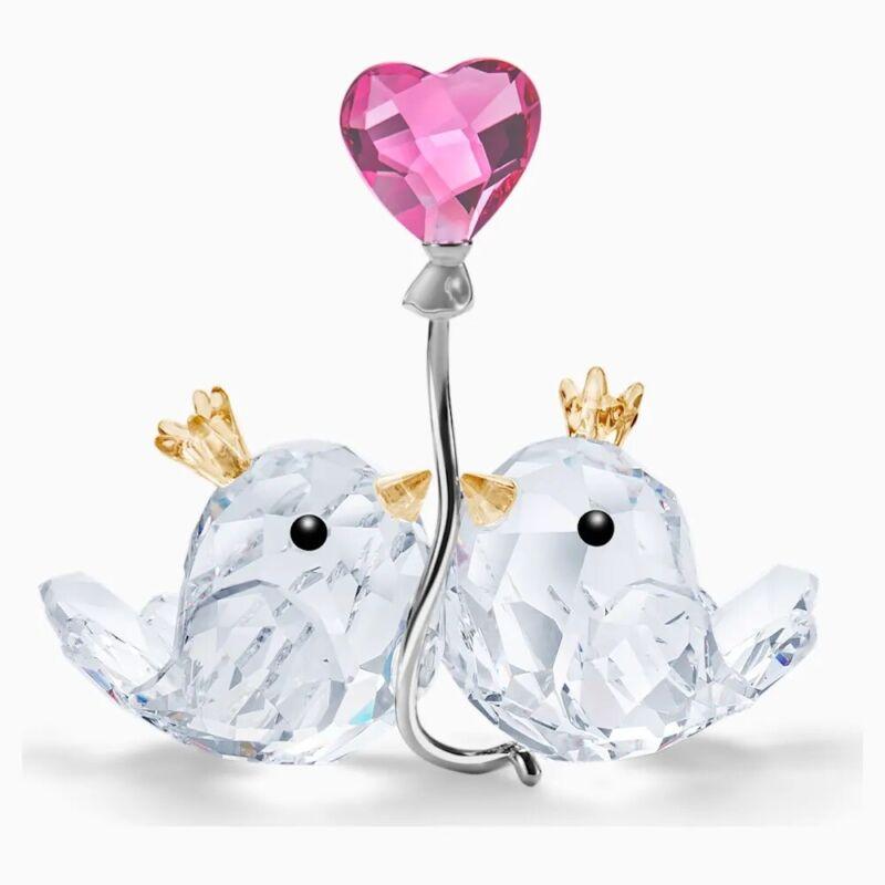 Swarovski With Love, Love Birds, Pink Heart, Crystal Figurine 5492226