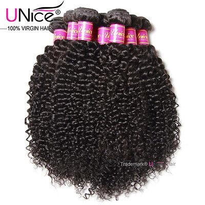 UNice Malaysian Curly Human Hair 3 Bundles Soft Kinky Curly Hair Extensions -