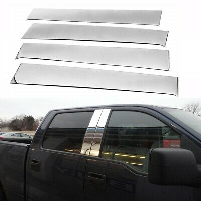 Fit 2004-2014 Ford F150 Super Cab Crew Stainless Steel Chrome Pillar Post Trim