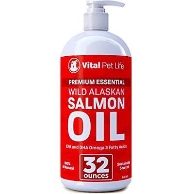 Salmon Oil for Dogs Cats and Horses Omega 3 Food Supplement Helps Dry Skin 32oz