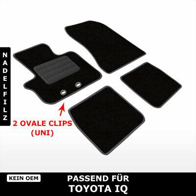 Fußmatten Passend für Toyota IQ (ab 2008) - Schwarz Nadelfilz 4tlg, uni clips