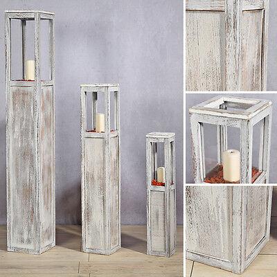 3 tlg Set Laterne Windlicht Säulen Rustica Kerze Holzlaterne Windlichtset weiß