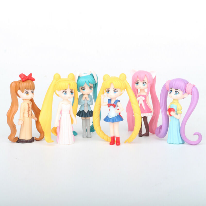 6 PCS Sailor Moon Tsukino Usagi Anime Action Figure Cake Topper Kids Gift Toy US