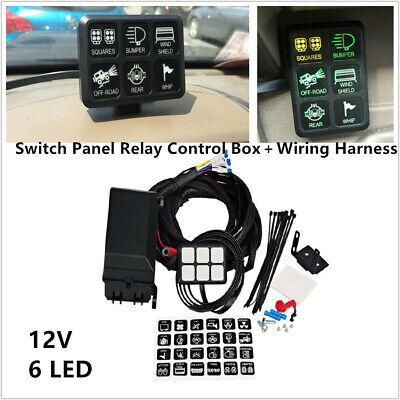 6 Led Switch Panel Relay Control Box W Wiring Harness For Car Suv Rv Marine 12v