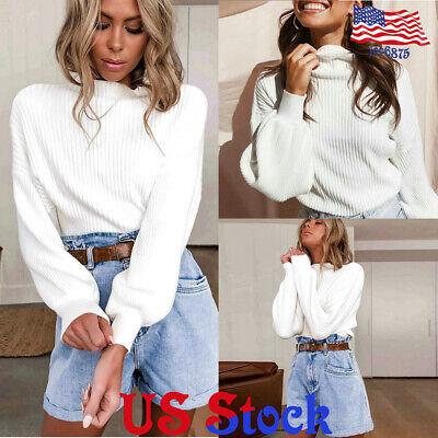Women High Collar Turtleneck Winter Warm Knitted Sweater Long Puff Sleeve Top