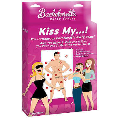 Girls Night Bachelorette Party Favors Kiss My ..! Game Pin your Lips on the D_CK - Bachelorette Pins