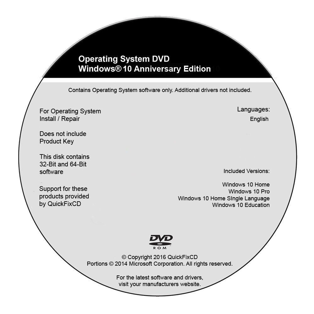 Windows 10 DVD All Versions 32 & 64bit Restore Repair Instal