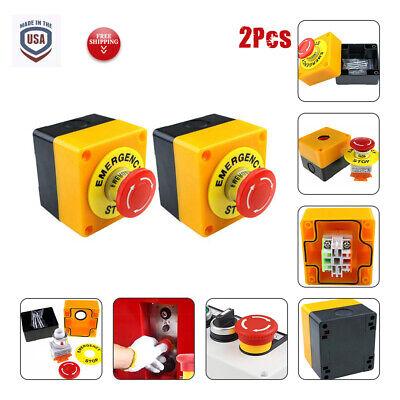 2pcs Red Push Button Emergency Stop Shut Off Control Switch Nonc 22mm Cnc Gecko