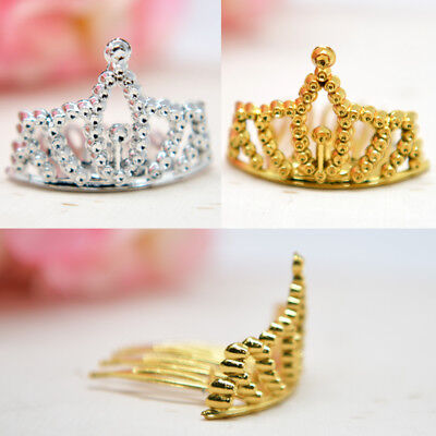 12 Mini Plastic Princess Crowns Tiara Gold Silver Decoration Quinceanera Crafts