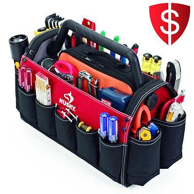Open Tote Tool Bag Storage Electrician Organizer Carpenters Work Contractor Case