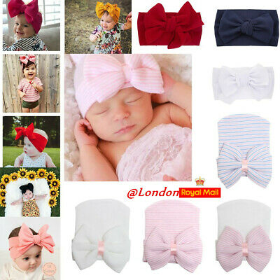 Newborn Baby Girl Big Bow Beanie Hat Cap Boy Cotton Headband Kids Hair Accessory