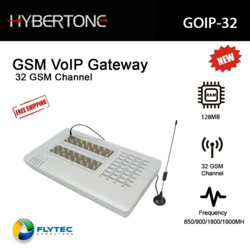 Hybertone VoIP Gateway GSM GOIP-32 w/ External Antenna 4 Channels GSM Quad Band