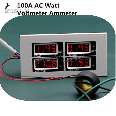 100a Ac Digital Led Power Meter Monitor Voltage Kwh Time Watt Voltmeter Ammeter