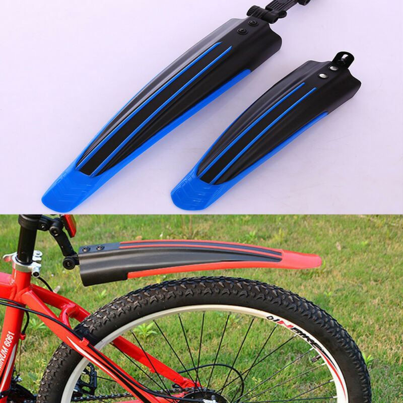 2 Pcs Black Plastic Mountain Bike Bicycle Rear Front Mud Guard Mudguard Fenders