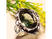 GREEN AMETHYST VINTAGE STYLE 925 STERLING SILVER RING 9