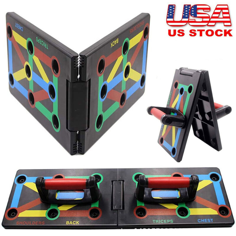 Foldable 9 in 1 Push Up Rack Board Fitness Workout Train Gym Exercise Stands BL