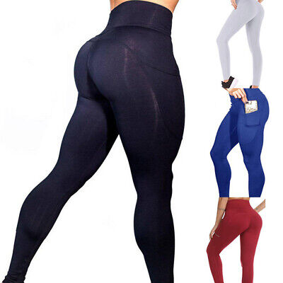 Women Yoga leggings With Pockets Sports Fitness Pants Running Push Up Workout US