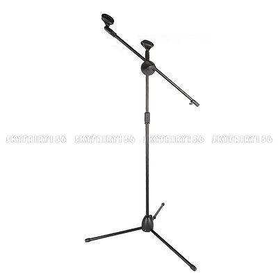 Telescoping Microphone Boom Stand Tripod Stage Studio Arm Holder & Dual Mic Clip