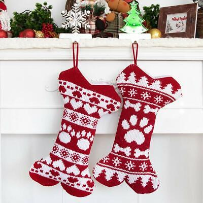 Dog Christmas Stockings (GEX Knitted Christmas Stockings for Pets Dog Knit Bone Large Red)