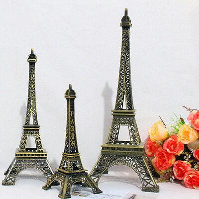 Vintage Alloy Bronze Paris Eiffel Tower Figurine Statue Model Decor 18cm DL5