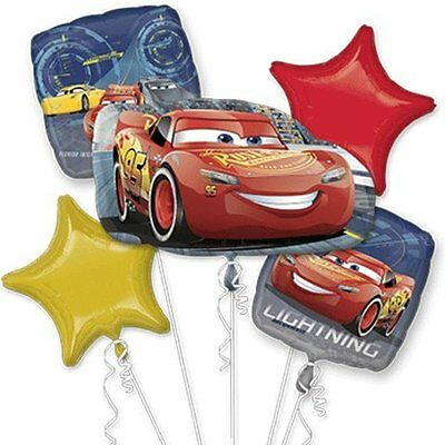 Disney Cars 3 Mc Queen Happy Birthday Party Favor 5 Foil Balloons Bouquet](Happy Birthday Cars)