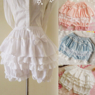 Bubble Shorts (Lolita Bloomers Womens Bow Lace Ruffle Bubble Pumpkin Shorts Underpants Cosplay)
