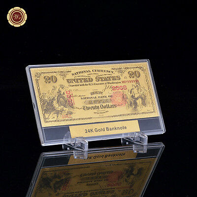 WR 1875 $20 Old US Gold Foil Banknote First National Bank of Butte +Display Case