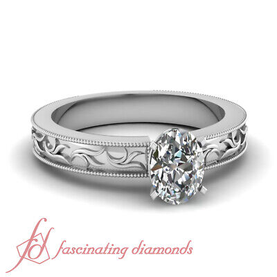 1/2 Carat Oval Shaped Diamond Leaf Style Milgrain Solitaire Engagement Ring GIA