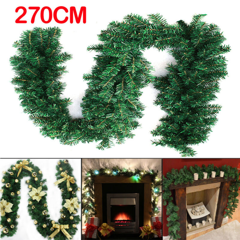Seasonal Decorations 9ft Christmas Tree Garland 50led Lights Pine Pre Lit Artificial Wreath Xmas Deco Home Furniture Diy Tohoku Morinagamilk Co Jp