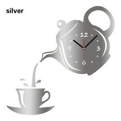 Coffee Cup Shaped Decorative Kitchen Wall Clocks Living Room  Decor  silver YA9