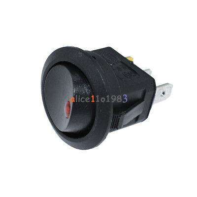 2pcs Ac 125v250v 3 Pins Red Car Round Dot Led Light Rocker Toggle Switch