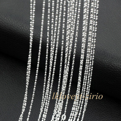 Wholesale Lots 5Pcs 925 Sterling Solid Silver Bar & Bead Chain Necklace 16