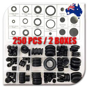 NDI 250PCS RUBBER GROMMET ASSORTMENT FASTENER KIT PROTECTIVE RING ND-0901