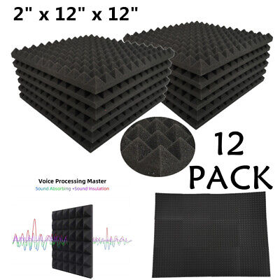 "12 Pack Acoustic Foam Panels Pyramid Soundproofing Studio Tiles 2"" X 12"" X 12"""