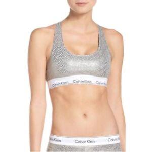 287df1b0b8 Calvin Klein Modern Cotton Bralette F3785 Chevron Outline Logo Grey ...