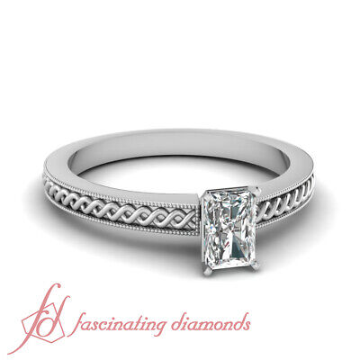 Solitaire Coiled Engagement Rings Women 1/2 Carat Radiant Cut Diamond VS1 GIA