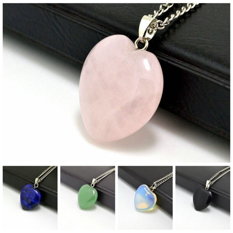 Jewellery - Natural Quartz Stone Gemstone Heart Rock Healing Point Chakra Pendant Necklace