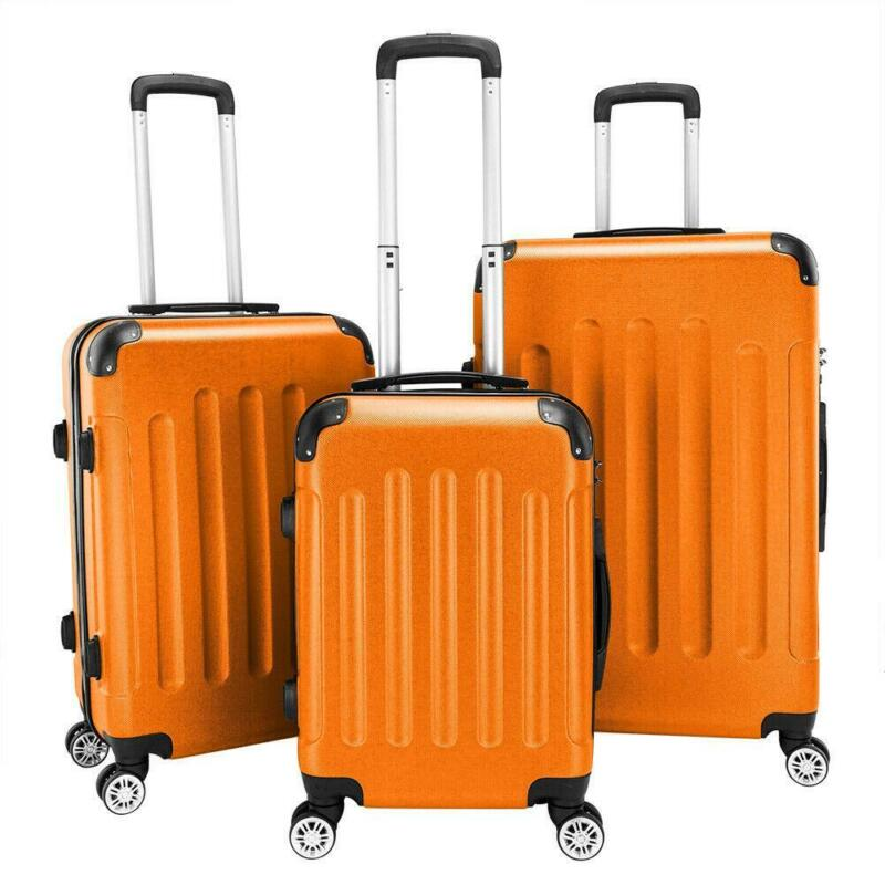 """3pcs Luggage Set Pc+abs Trolley Spinner 20""""/24""""/28"""" Suitcase Hard Shell Home"""