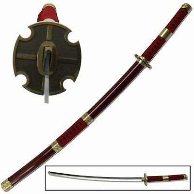 One Piece Sword Sandai Kitetsu Roronoa Zoro Katana Anime Burgundy Red Steel