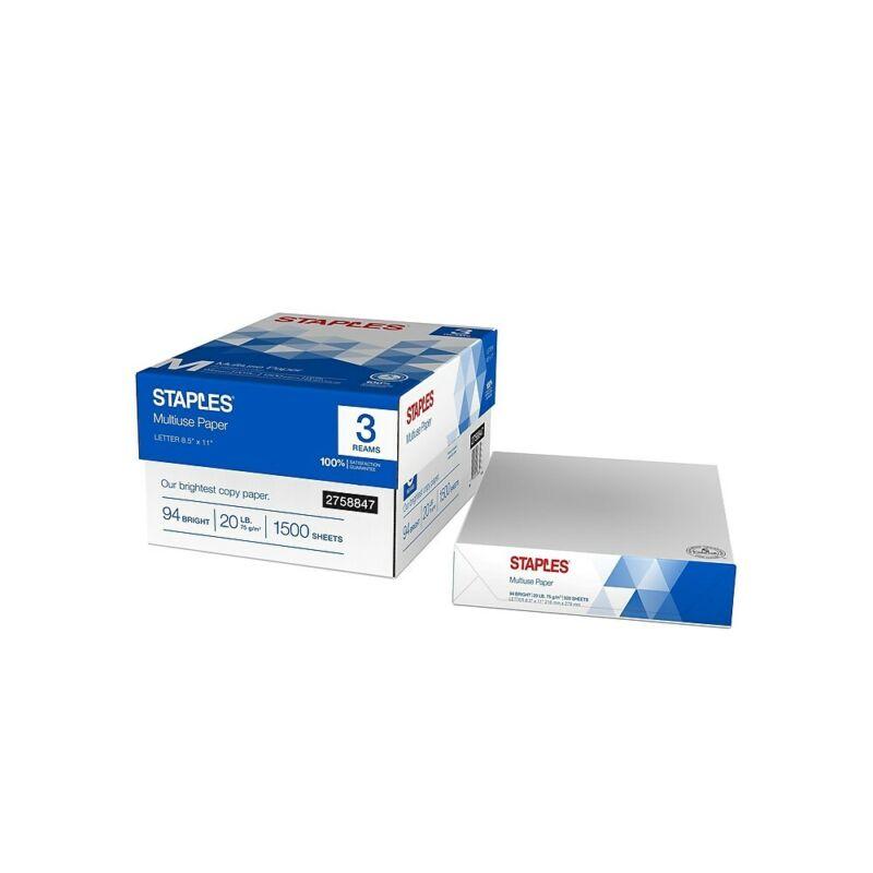 "Staples Multiuse 8.5"" x 11"" Copy Paper 20 lbs 94 Brightness 500/RM 3 RM/CT"