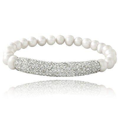 White Freshwater Cultured Pearl & Crystal Bar Stretch Bracelet