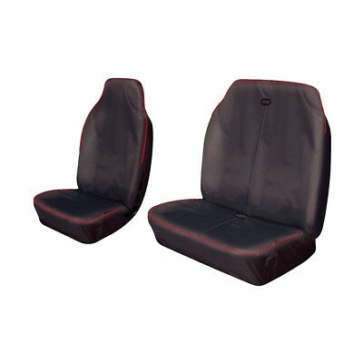 Heavy Duty Van Seat Covers Protectors Black With Red Piping FIAT Fiorino