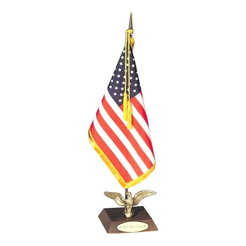 "U.S. United States Ambassador Miniature Fabric Desk Flag Set With Stand 8"" X 12"""