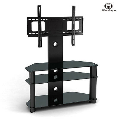 Black Tempered Glass TV Stand Chrome TV Bracket LCD Plasma LED With Shelves