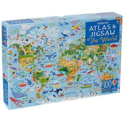 Usborne Atlas & Jigsaw The World - Children's 300 Piece Puzzle & Picture Book
