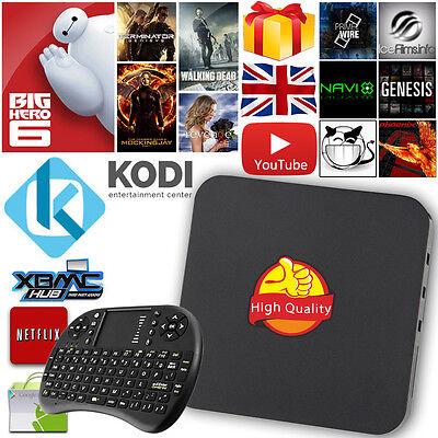 Free Keyboard Quad Core 2016 Smart TV Box Fully Loaded KODI XBMC Android 4.4 UK