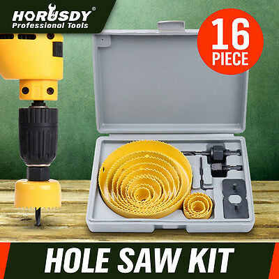 Hole Saw Drill Bit Kit 16pc w/ Mandrels Saws w/ Case Wood Plastic Sheet Metal